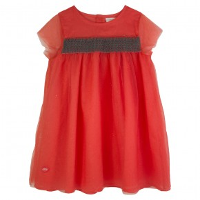 Coral Dress with smoking details