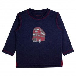 Boy Navy T-shirt with Bus Appliqué