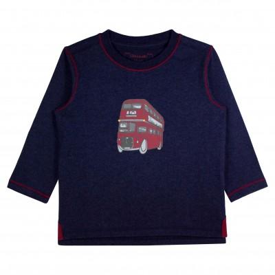 Boy Navy T-shirt with Bus Appliqué