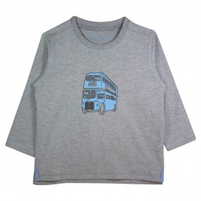 Boy Grey T-shirt with Bus Appliqué