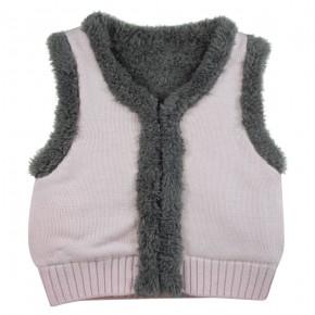 Pink Vest with rabbit appliqué