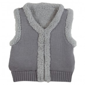Grey Vest with rabbit appliqué