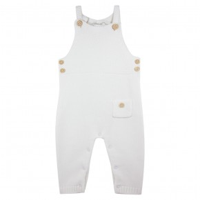Baby Unisex Knitted Overall White