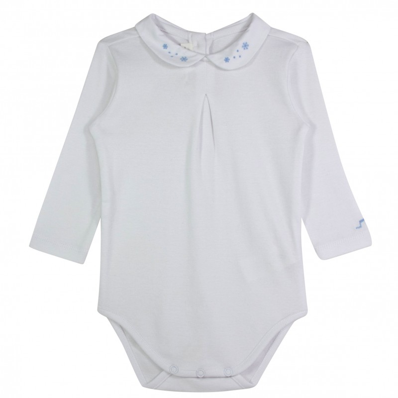 A pack of white, long-sleeved onesies makes a versatile layering piece under baby outerwear on chilly days. As your child grows bigger and stronger, graduate to toddler bodysuits. These longer pieces feature the same ease of wear as baby bodysuits, but add .