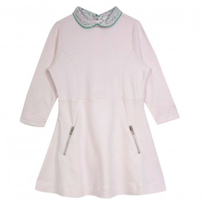 Girl Dress with Pink Liberty Collar