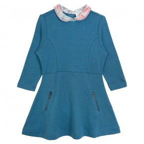 Girl Blue Dress with Coral Liberty Collar
