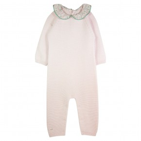 Baby Girl Rompersuit with Pink Liberty Collar