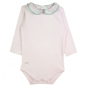 Baby Girl Pink Bodysuit with Liberty Collar