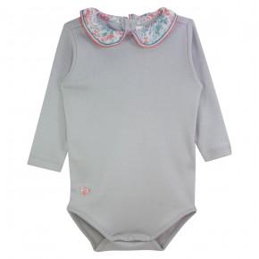 Baby Girl Grey Bodysuit with Liberty Collar