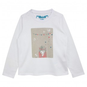 Girl White Top with Doodle Print