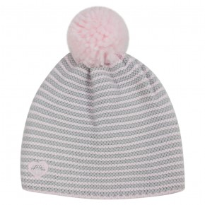 Girl Stripes Hat with Pink Pompon