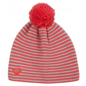 Girl Stripes Hat with Coral Pompon
