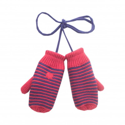 Girl Striped Mittens in Coral
