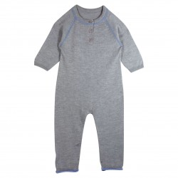 Boy Grey Romper with Bus Appliqué