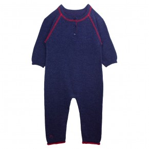 Boy Navy Romper with Bus Appliqué