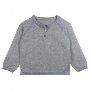 Boy Grey Sweater with Bus Appliqué