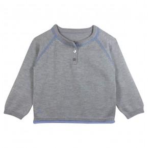 Boy Grey Sweater with Bus Appliqué