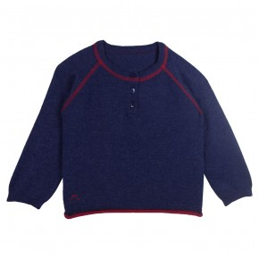 Boy Navy Sweater with Bus Appliqué