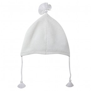 Baby unisex white knitted hat
