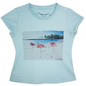 Girl Tee-Shirt Aqua with Flamingo Prints