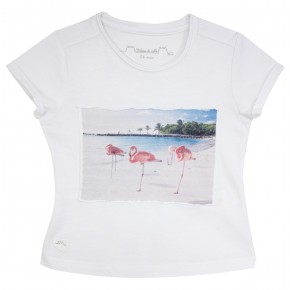 Girl White Tee-Shirt with Flamingo Prints