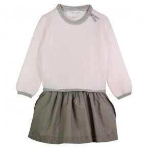 Girl Dress Round Collar Pink and Grey