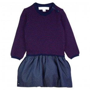 Robe Fille Col Rond Navy et Rouge