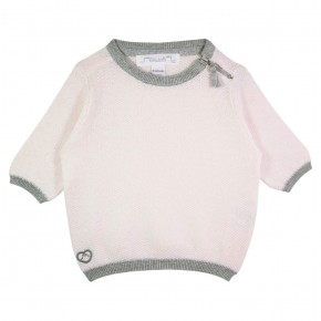 Girl Tee-shirt Round Collar in Pink and Grey