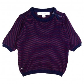 Girl Tee-shirt Round Collar in Navy and Red