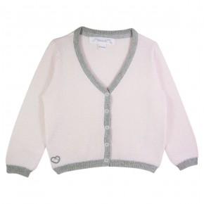 Girl Cardigan V-neck in Pink and Grey