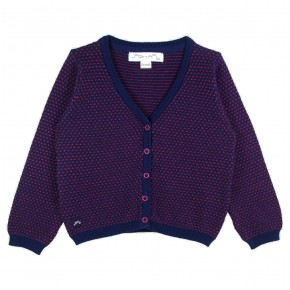 Girl Cardigan V-neck in Red and Navy