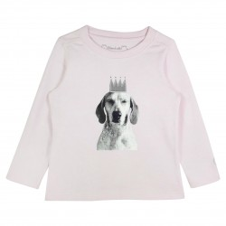 Girl Pink T-shirt with Dog Appliqué