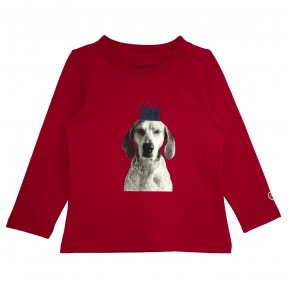 Girl Red T-shirt with Dog Appliqué