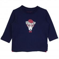 Boy T-shirt navy with dog appliqué