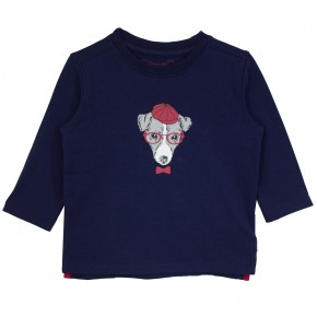 Boy T-shirt navy with dog appliqué