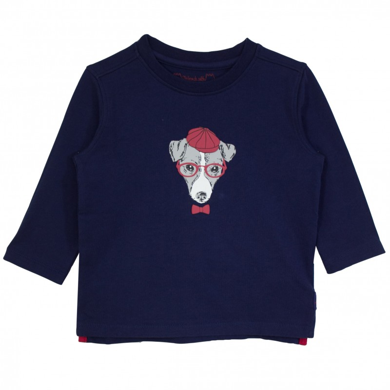 Boy t shirt navy with dog appliqu for Applique shirts for sale