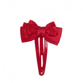 Satin Hair Clip Red