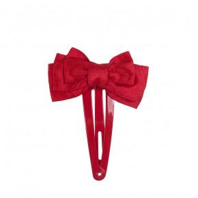Barrette ornée d'un noeud en satin rouge