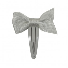 Girl Hair Clip Silver with Bow