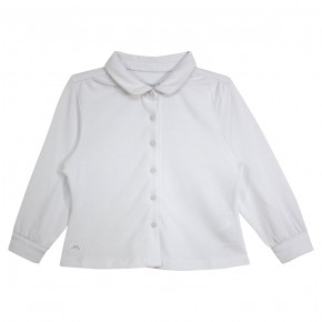 Girl Blouse Long Sleeves White