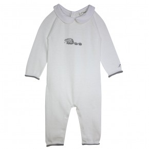Baby Boy Rompersuit with Hedgehog Appliqué