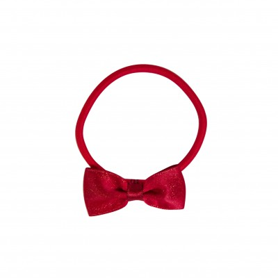 Girl Hair Elastic Red with Bow