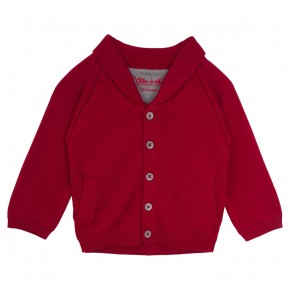 Knitted Cardigan with Shawl Collar in Red
