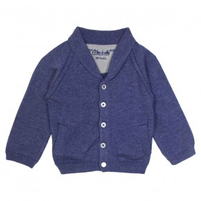 Knitted Cardigan with Shawl Collar in Navy