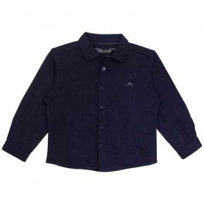 Chemise en coton jersey bleu marine