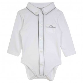 Baby boy bodysuit with pointy collar and grey details