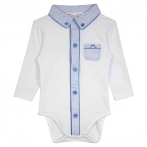 Baby boy bodysuit with pointy collar and blue details