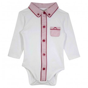 Baby boy bodysuit with pointy collar and red details