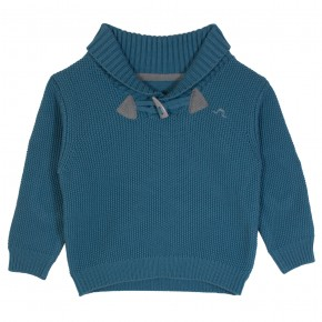 Blue sweater with shawl collar