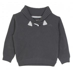 Grey sweater with shawl collar